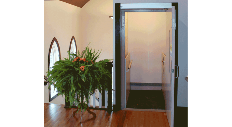 Shaftway Vertical Platform Lift used in a church building