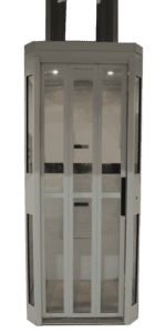 Symmetry Shaftless Home Elevator in Standard Grey with Integrated Sliding Door Closed