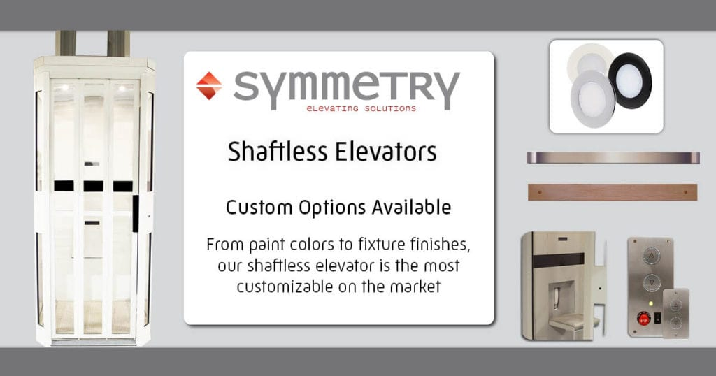 Symmetry Shaftless Home Elevator Custom Options Available