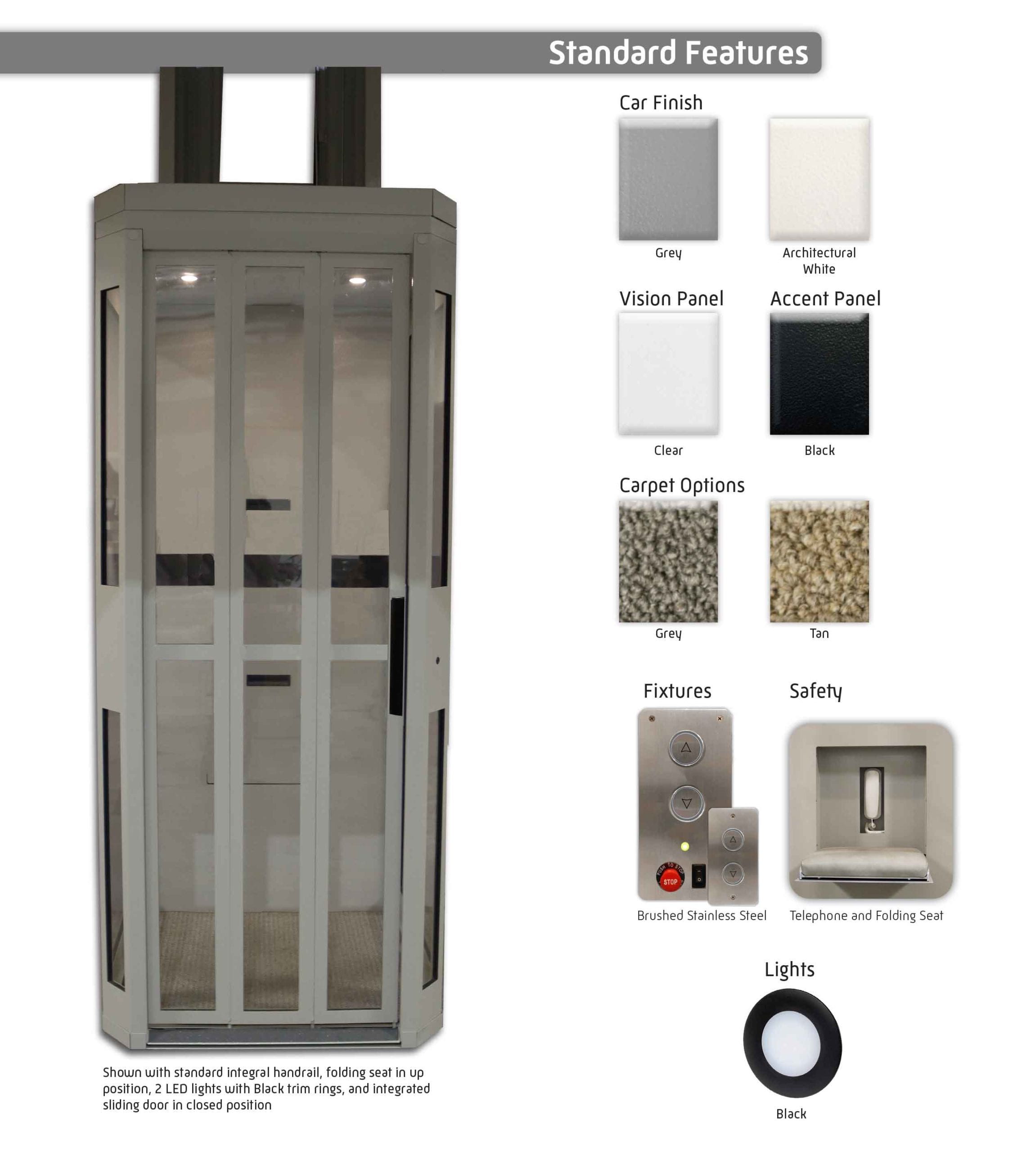 Symmetry Shaftless Home Elevator Standard Features